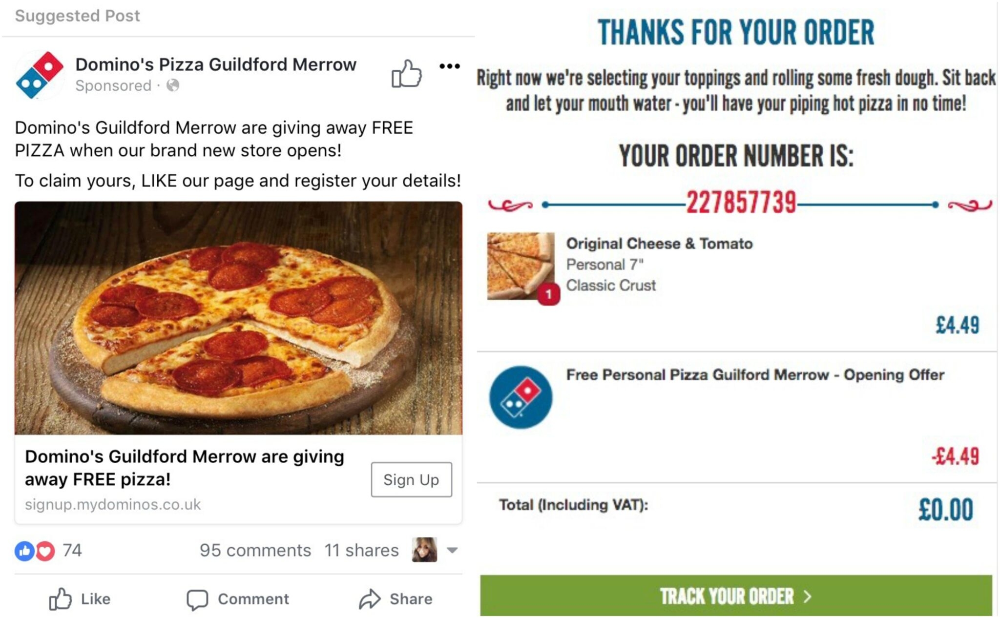 Free Dominos pizza - opening offer