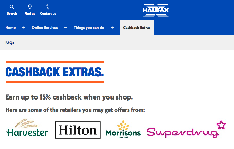 cashback with Halifax