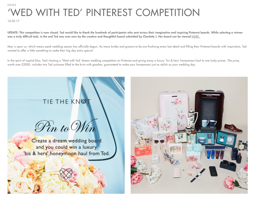 Ted Baker Pinterest free giveaways