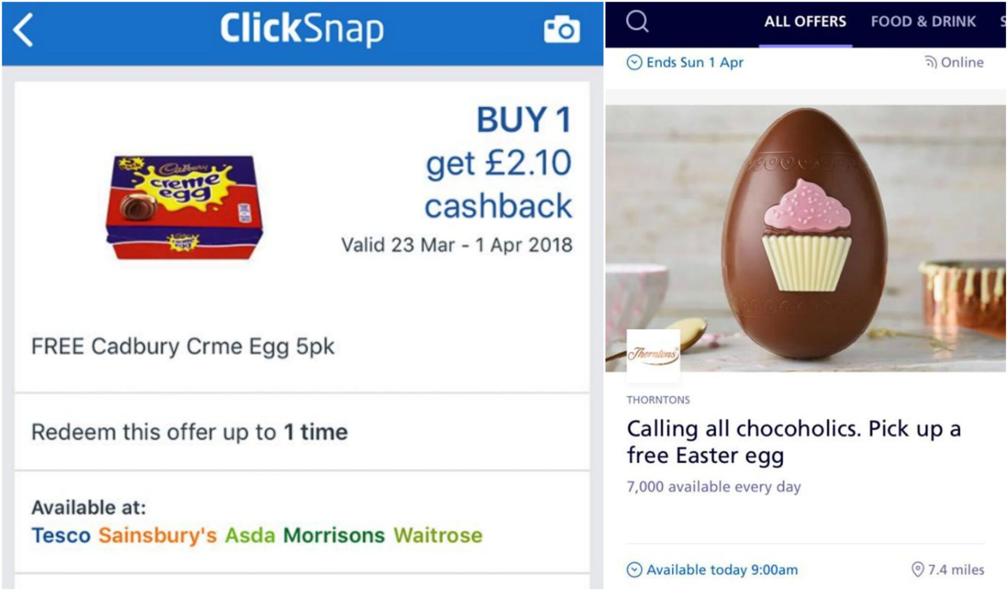 Free Easter Eggs and pack of creme eggs