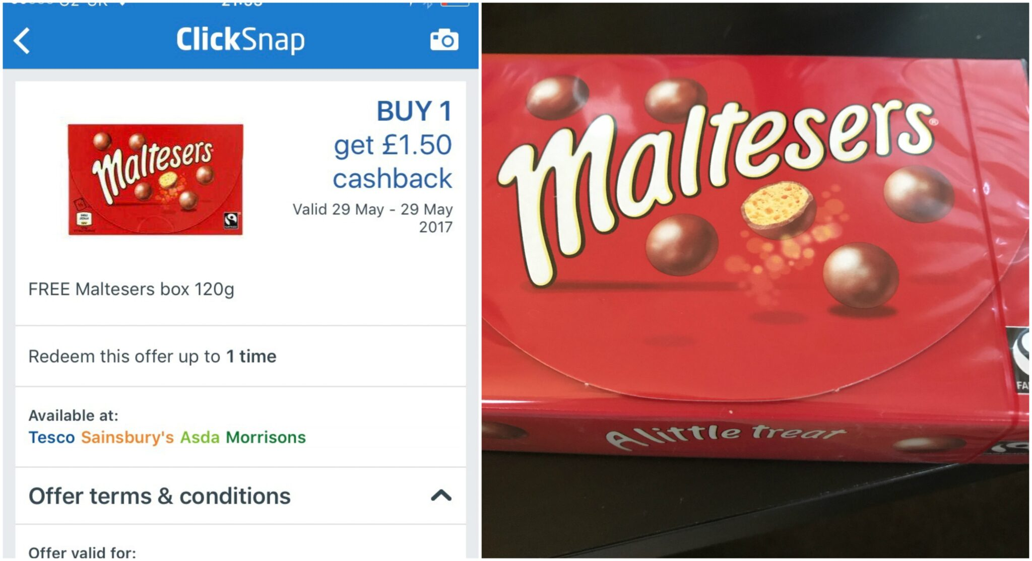 Free pack of Malteasers