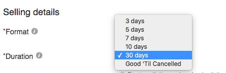 the best ebay duration