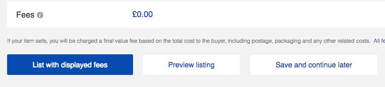 listing an item on ebay