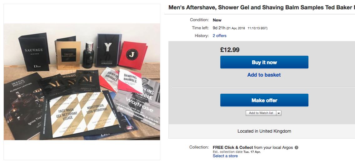 mens sample bundle for ebay