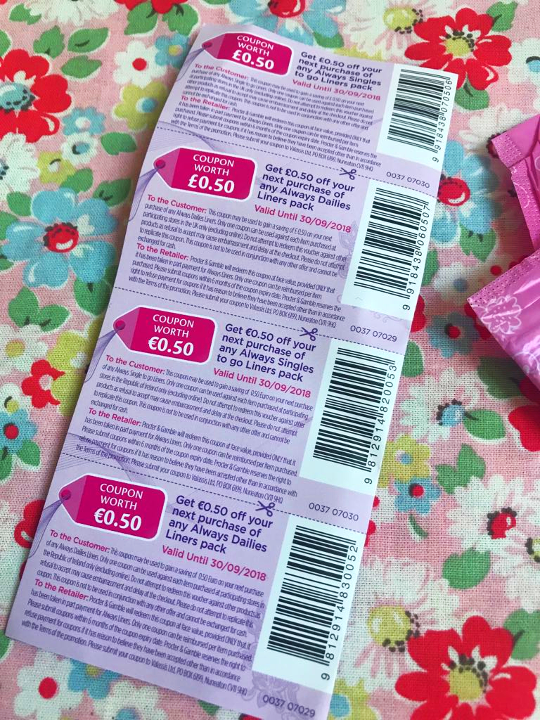 free Always sanitary towel coupons