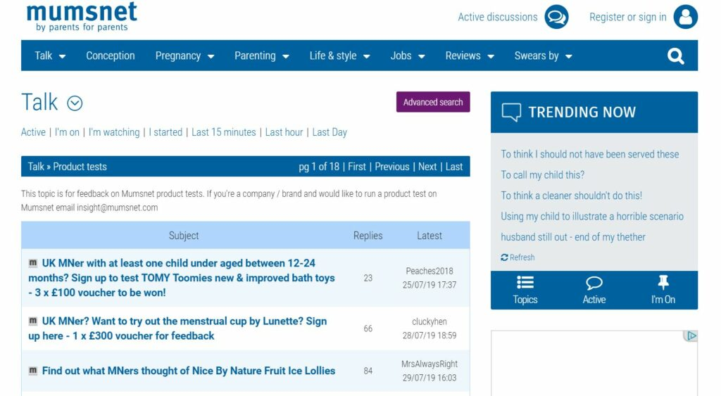 Mumsnet product testing opportunities