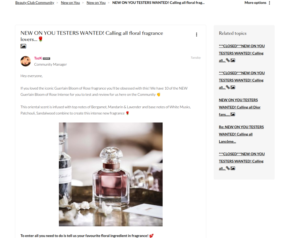 Debenhams beauty club new to you testers page