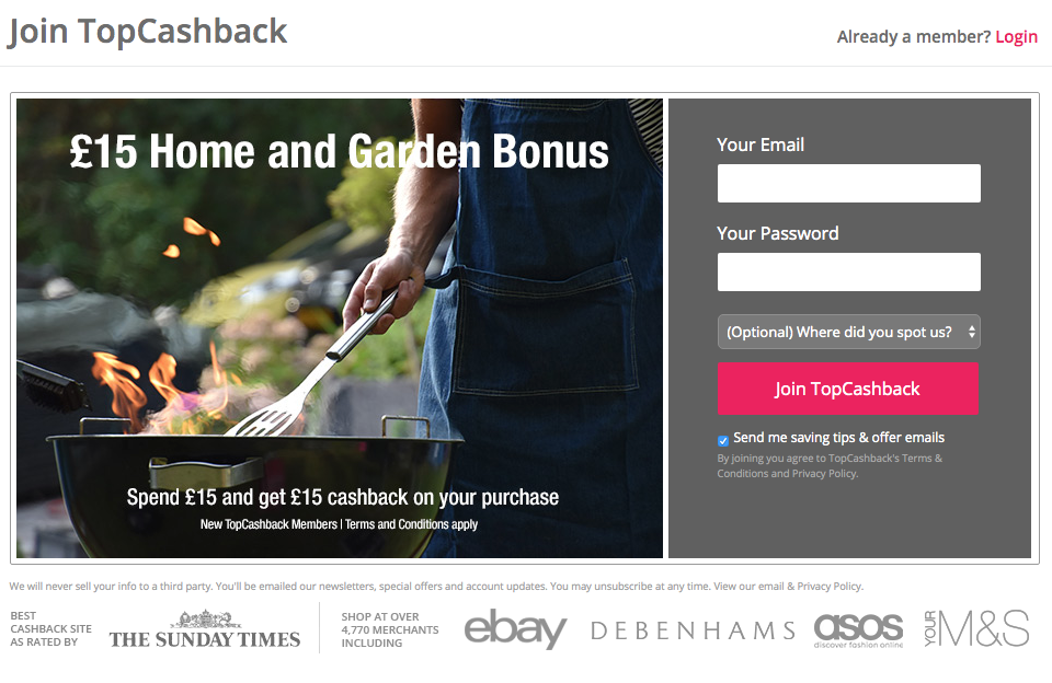 £15 topcashback welcome deal home and garden