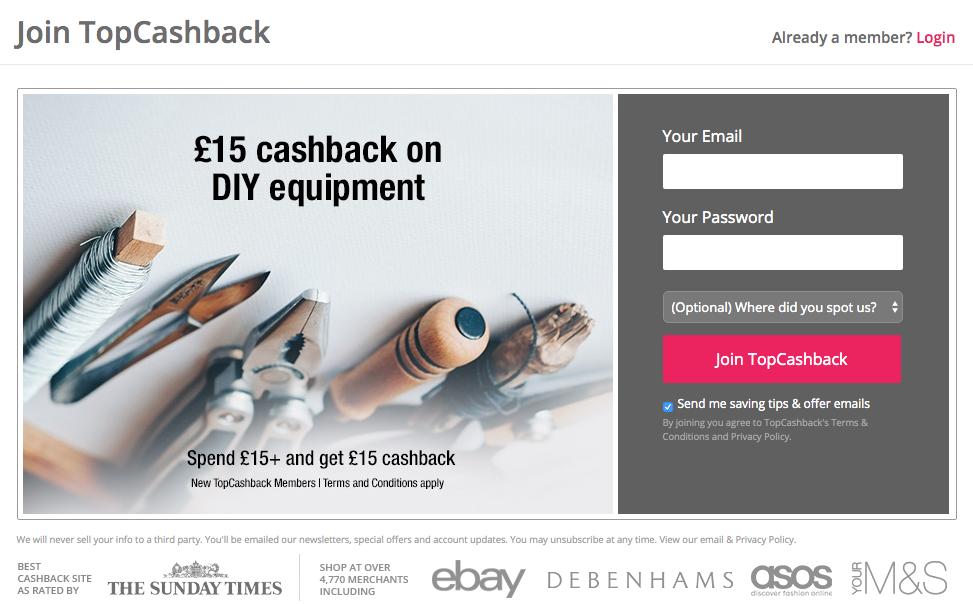 £15 cashback DIY welcome offer