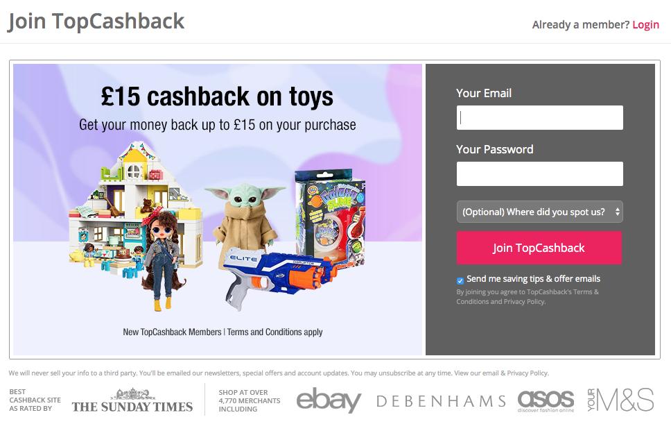 free £15 cashback towards toys