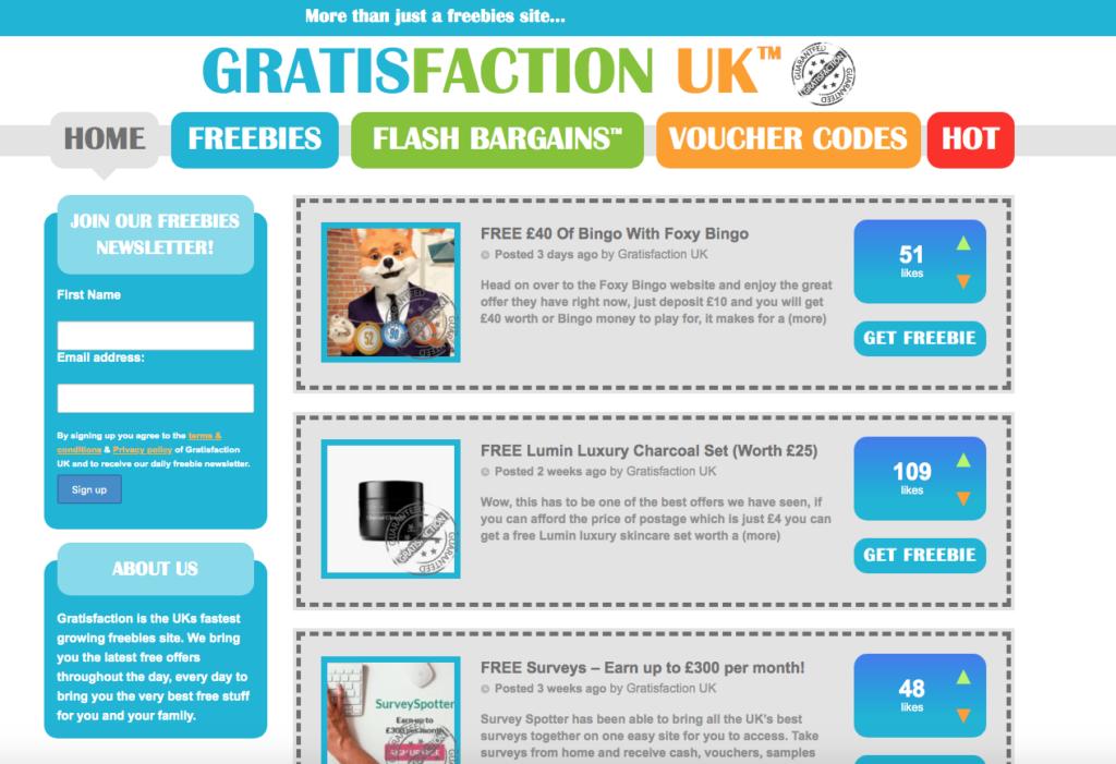 gratisfaction freebie site