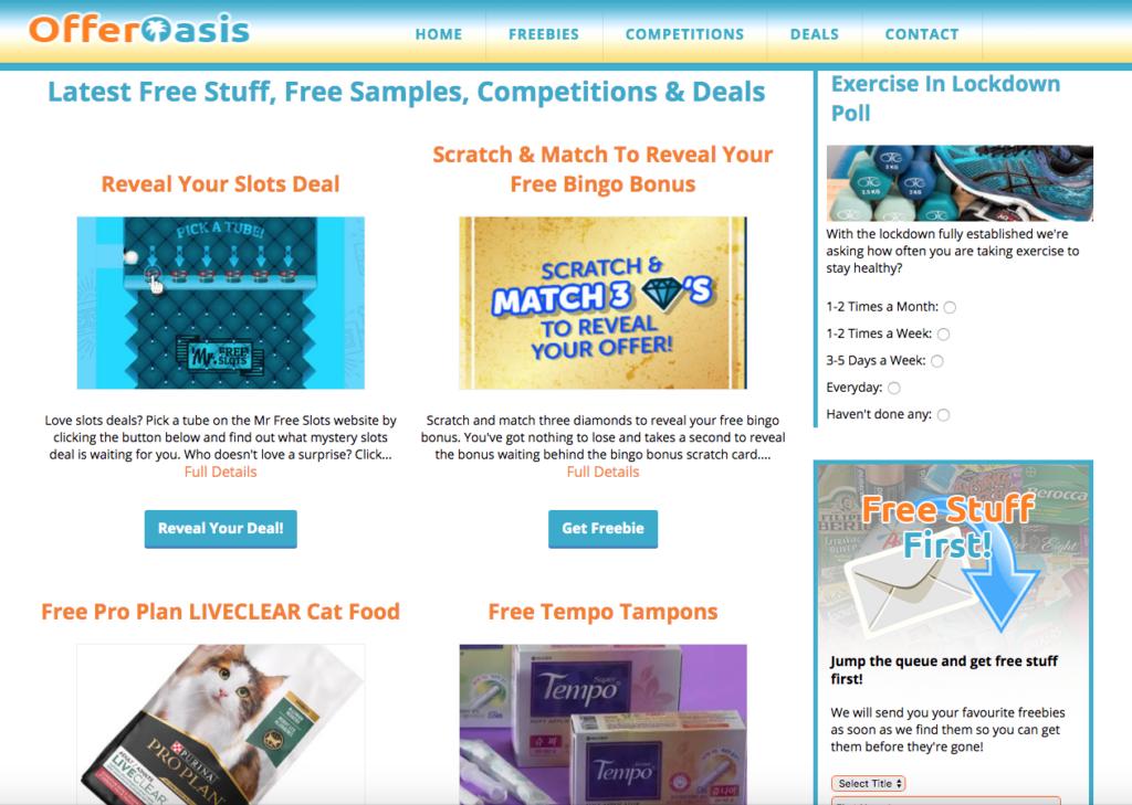 oasis offers free stuff website