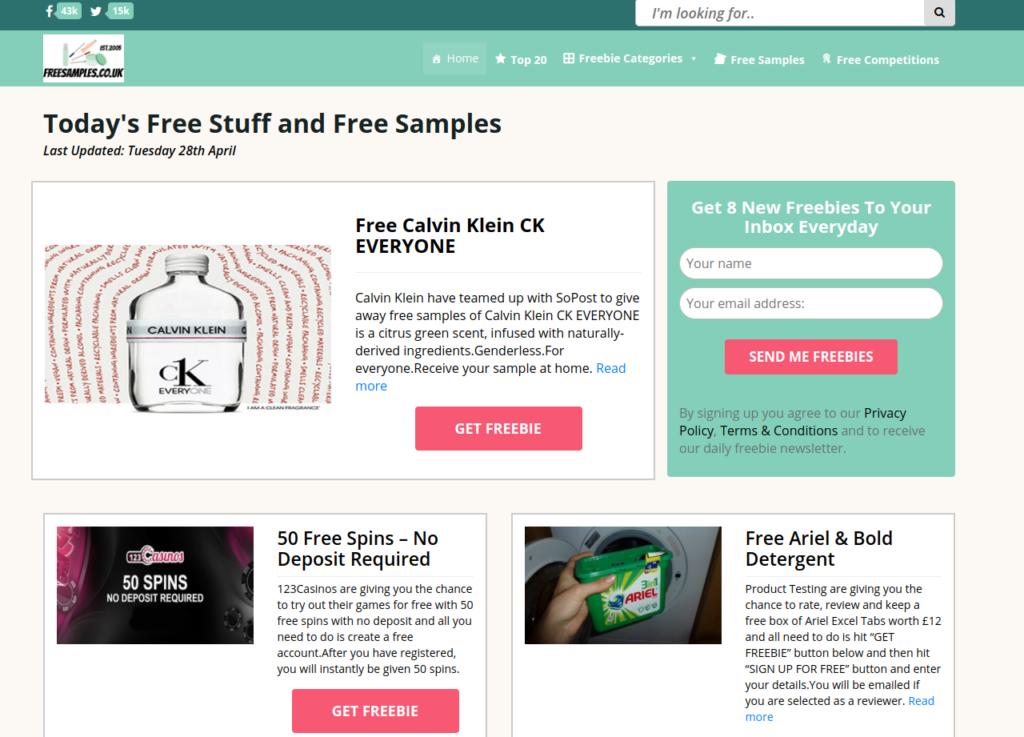 Free samples freebie site