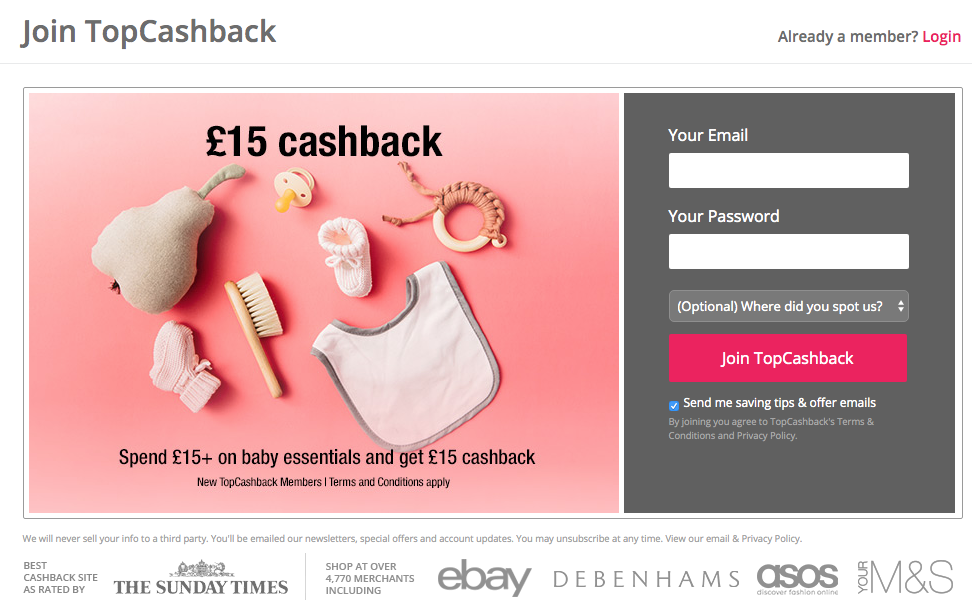 £15 topcashback welcome deal for baby essentials