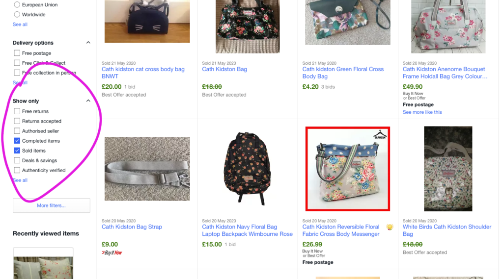 check sold items when your items are not selling on eBay